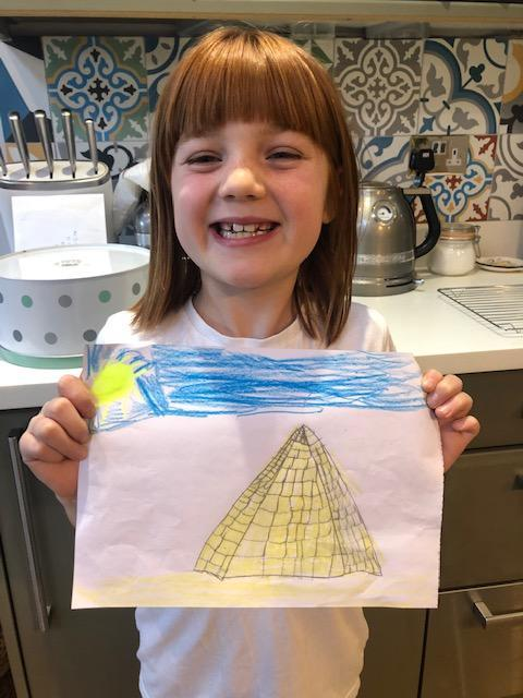 Eva has managed to make her drawing of a pyramid look 3D!