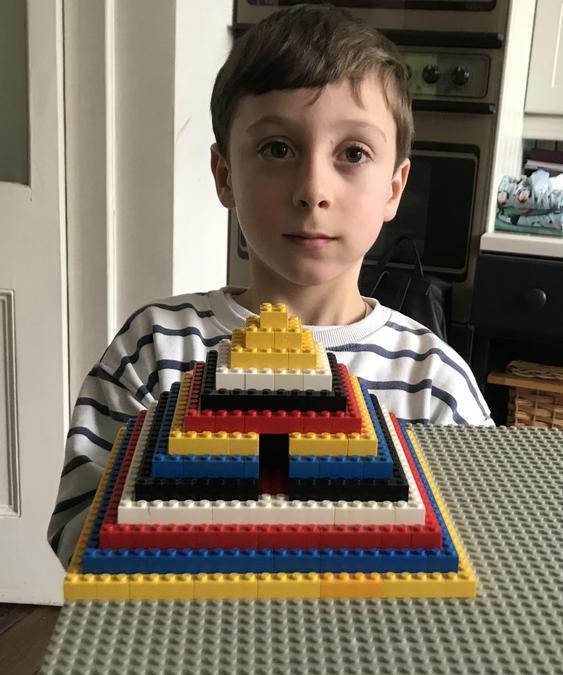 A colourful step pyramid.