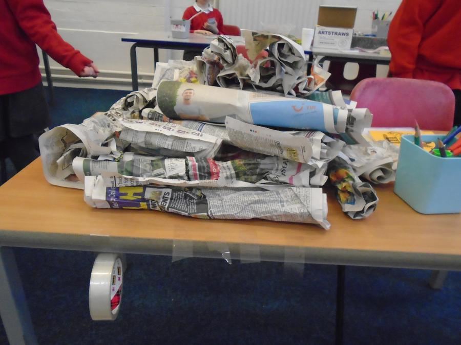 Ted's own newspaper pyramid.