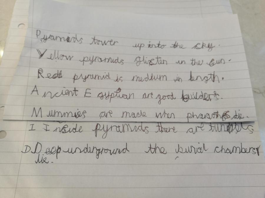Great adjectives used by Justin in his acrostic poem.