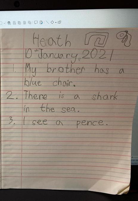 Heath has been working hard practicing his phonics.