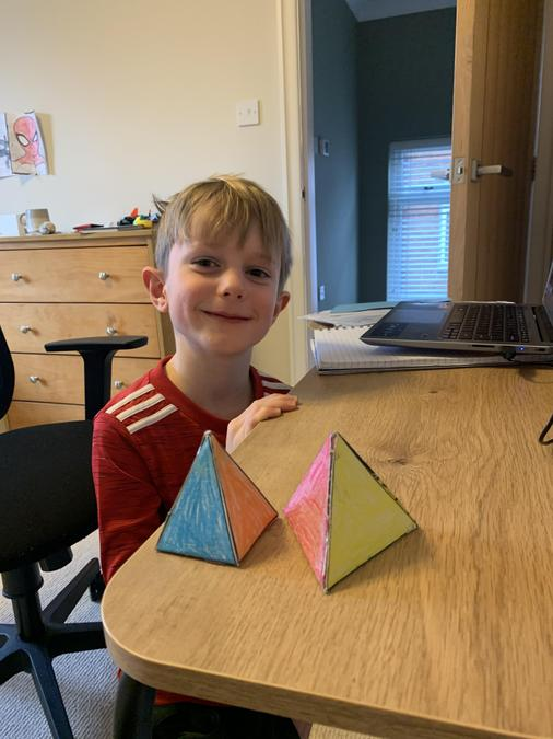 Neat and colourful pyramids created by Elliott.