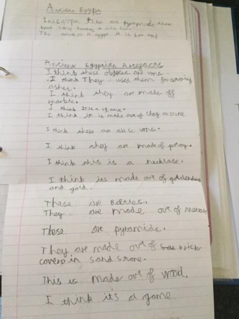 Jack's sentences to guess the artefacts.