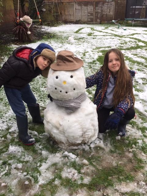 Jack and his sister Evie have created a wonderful snowman together