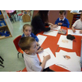 Using pastels to draw the Guinea pig.
