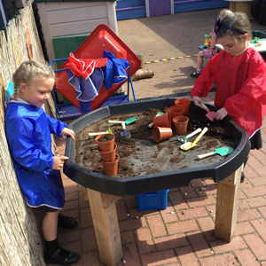 Planting seeds in pots.
