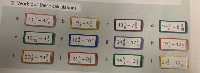 Subtract mixed numbers activity
