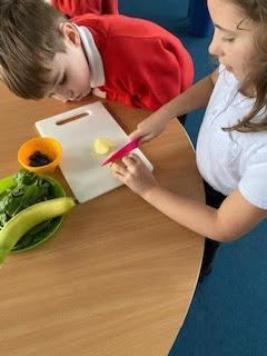 Carefully examining our produce.