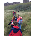 Walking up to Bamburgh Castle