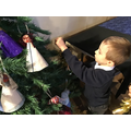 Decorating the tree at St Cuthberts Church.