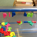 Making CVC words in the water tray