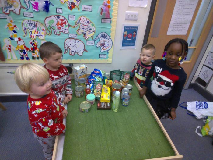 We have been thinking of others and collected lots of items to send to a local food bank
