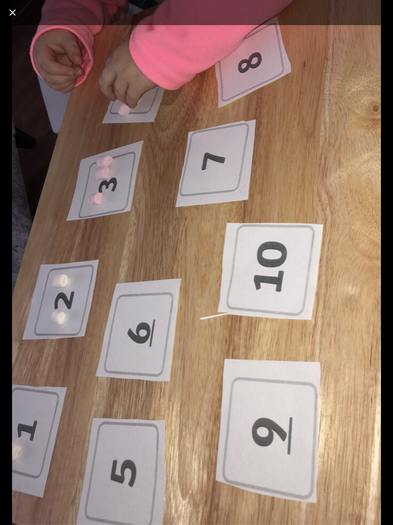 Matching marshmallows to numerals