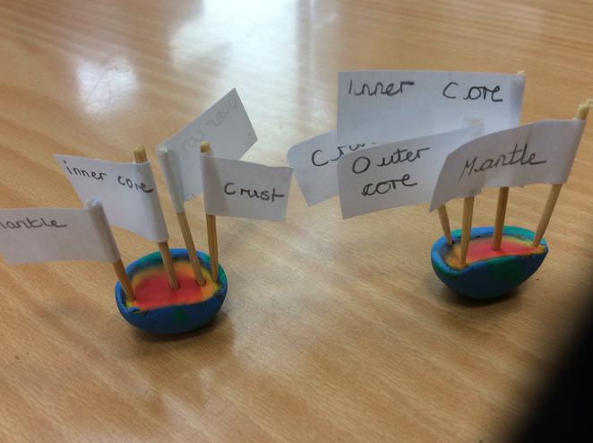 Labels - inner & outer core, mantle and the crust.