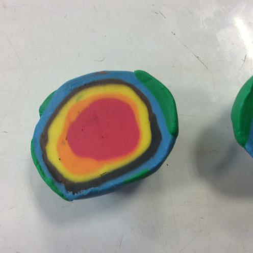 Used play dough to make the Earth's layers