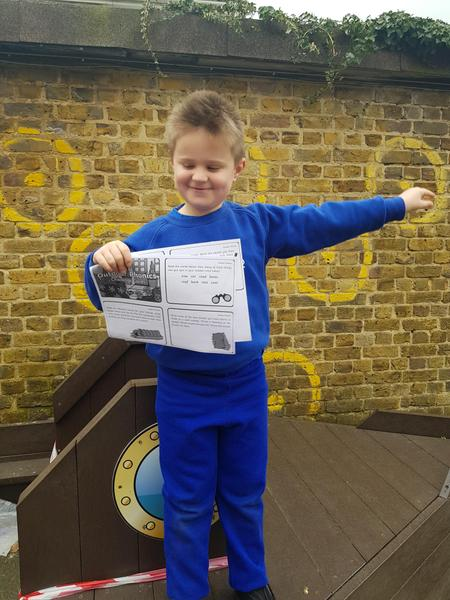 Ernie completing his outdoor phonics challenges