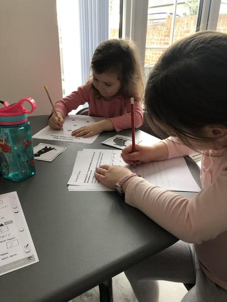 Millie completing her phonics