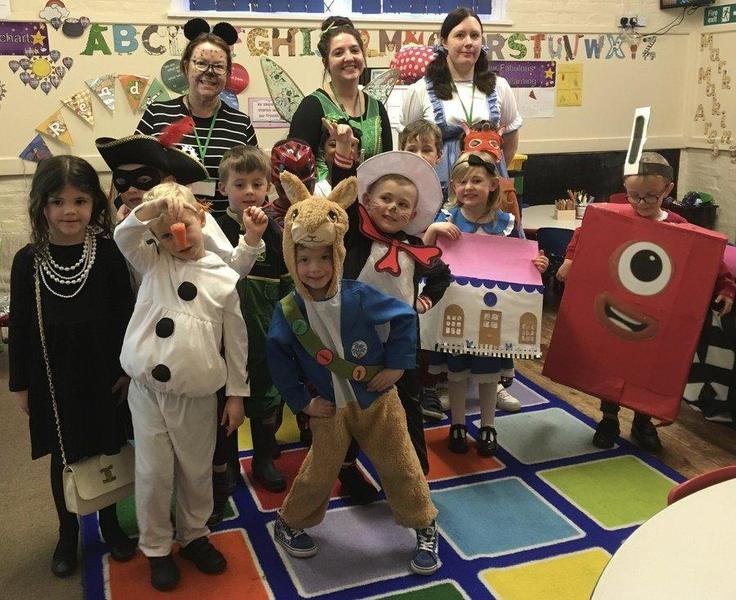 World Book Day March 2020 Acorns class all dressed up and enjoying the fun day.