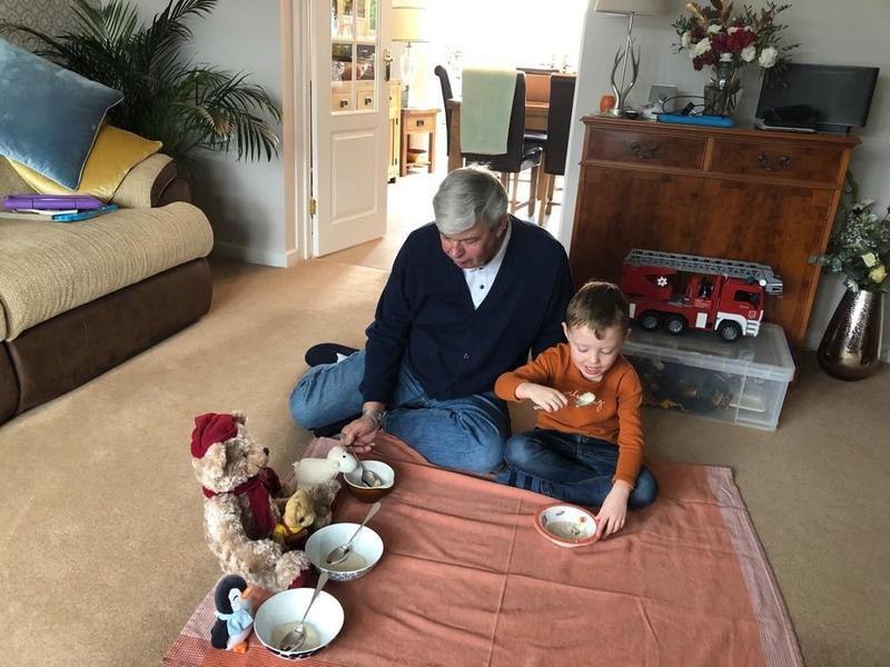 Harveys porridge tea party with Grandad
