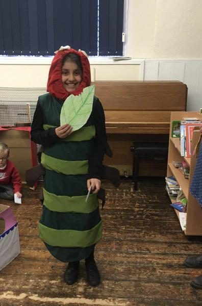 WBD Winner The Hungry Caterpillar, Inaaya Y6 who made her own costume and the leaf