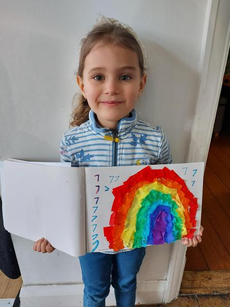 Evelyns making 7 with a beautiful rainbow