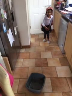 Reva completing her maths challenge