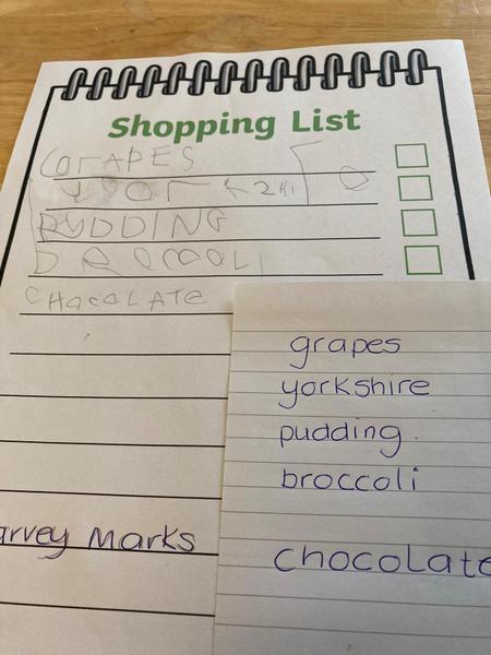 Harveys role-play shopping list