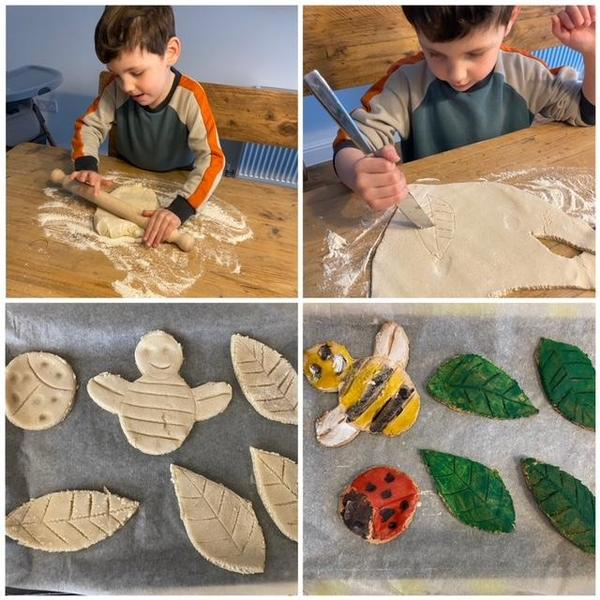 Freddie making salt dough minibeasts