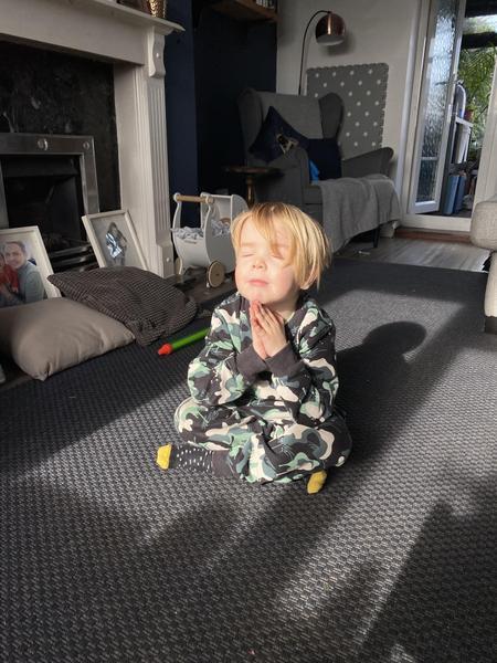 Harvey doing his mindfulness yoga