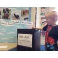 Casting a vote.