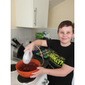 Sam is showing off his baking skills!