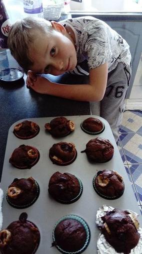 Marcus baked chocolate muffins- yum!