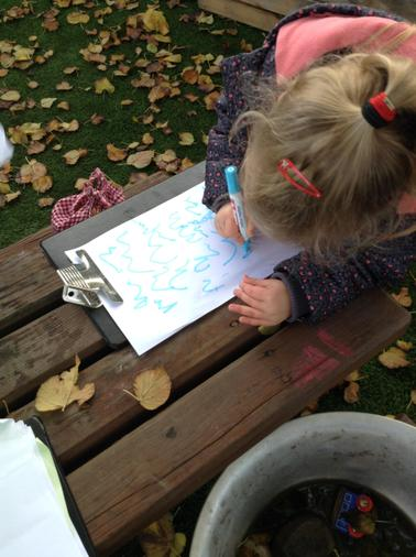 Making a menu for the mud kitchen.