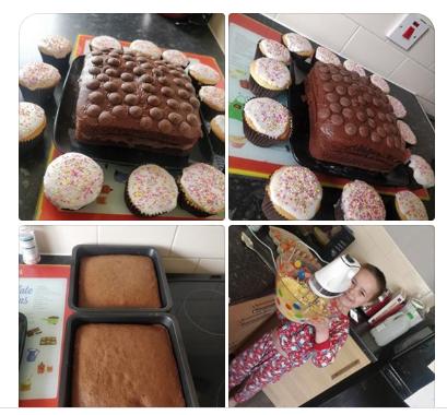 Kayden's rainbow buns and chocolate button cake!