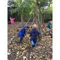 Working collaboratively to build a den!