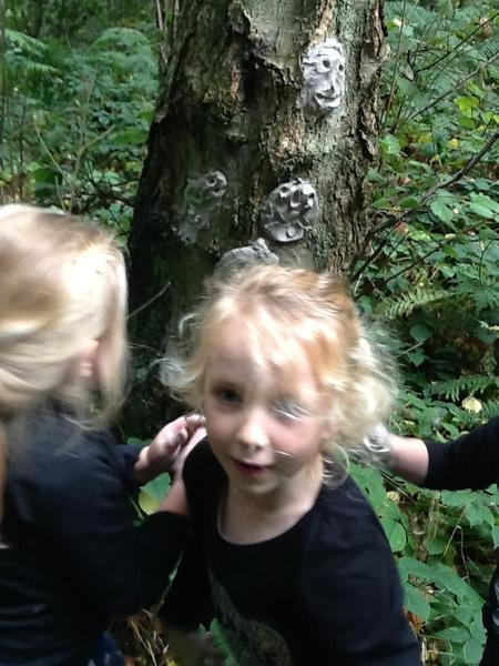 Making faces for trees.