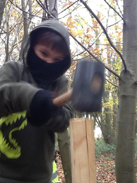 Toby is quite scary when he has a mallet!