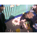 Playing in our new sandpit