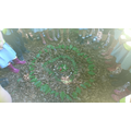 Natural material circle sculptures