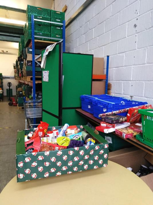 Mrs Hancock took two big boxes of food to the Trussell Foodbank n Salisbury.