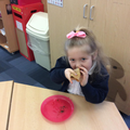 tasting our pancakes.
