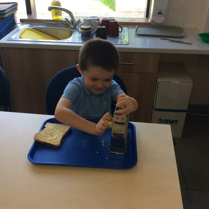 Making Cheese Sandwiches for Little Red Riding Hood's Basket
