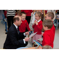 Prince Edward talking to nursery pupils