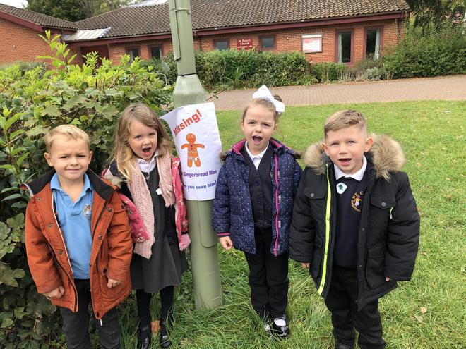 We went for a walk around our local area to look for the Gingerbread Man!
