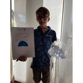 Henry created a jellyfish from recycled items!