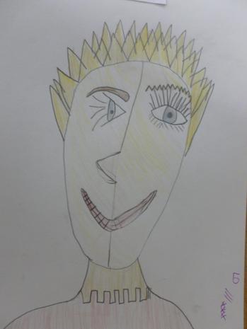 Picasso self portraits using coloured pencils