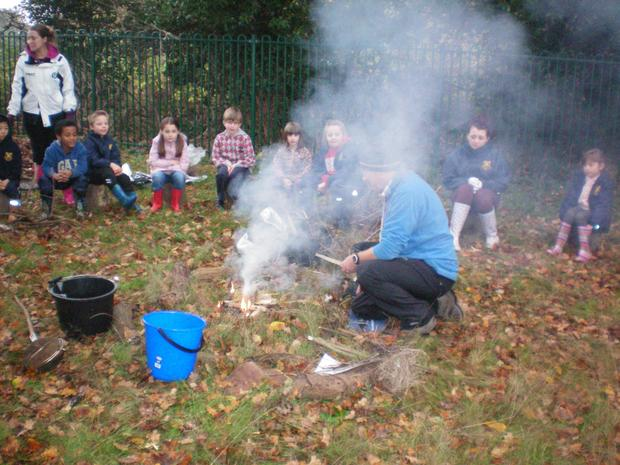 We make fires and discuss the importance of being careful and responsible! Remember the fire triangle!
