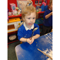 Brooke enjoyed licking the spoon at the end!