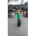 Making planters with tyres.