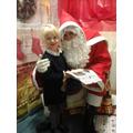 Emily meeting Santa.